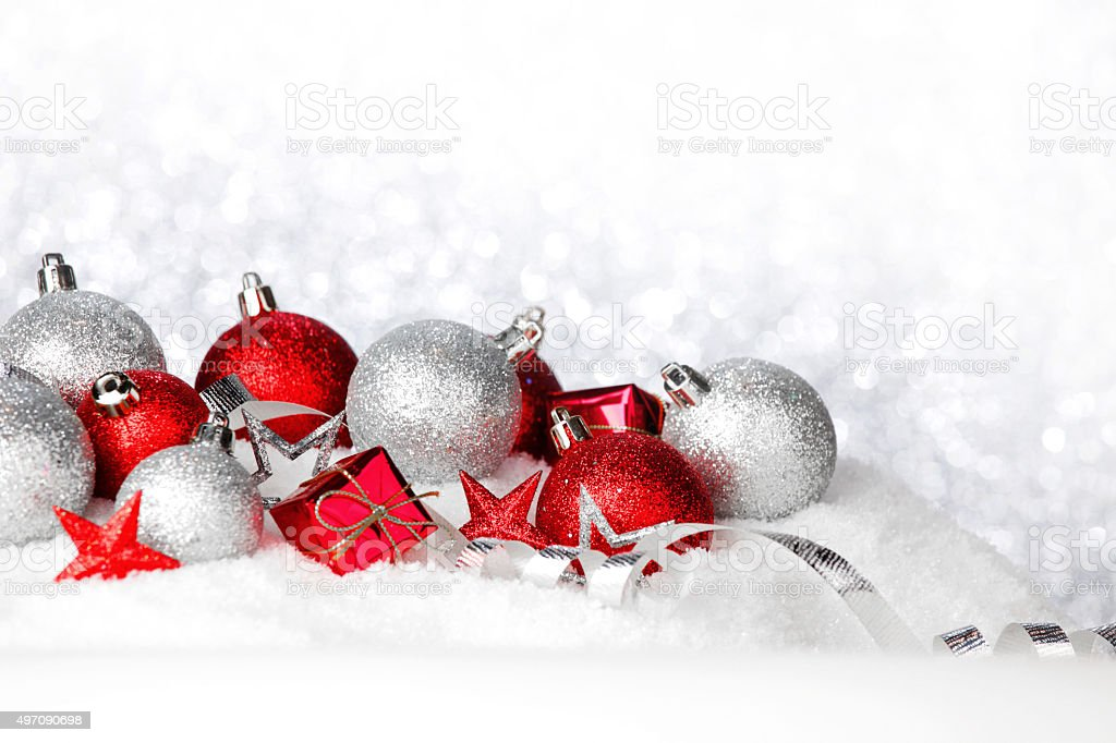Christmas balls on snow stock photo