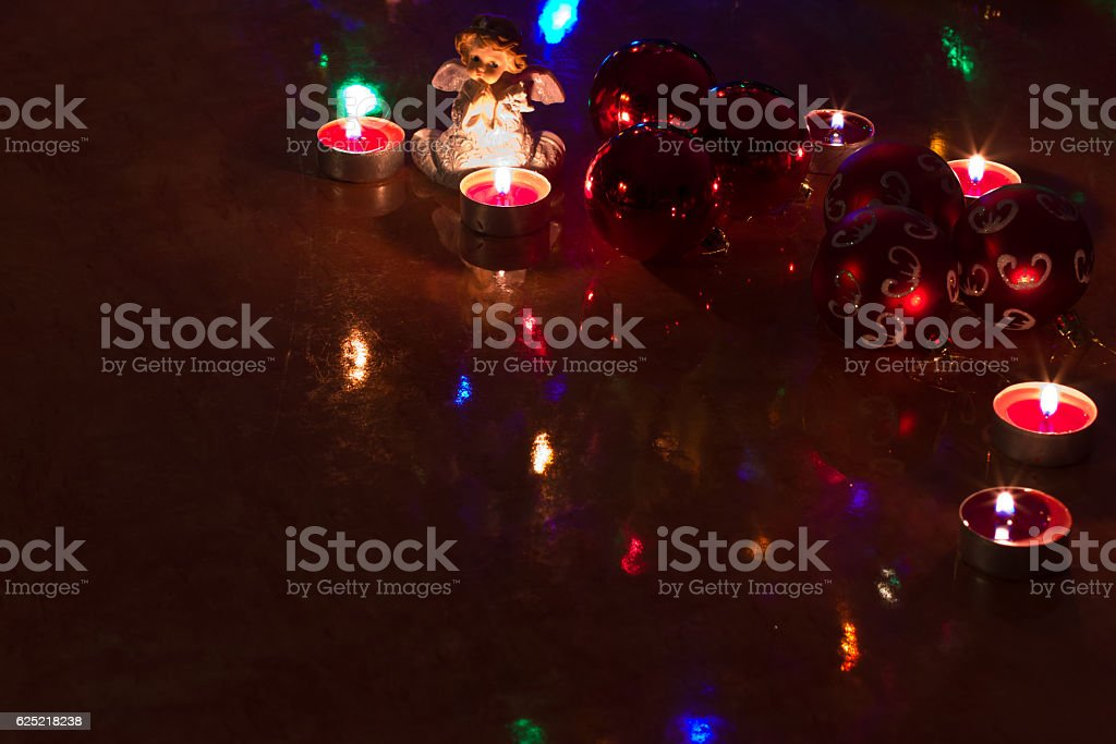 Christmas balls on the table. stock photo