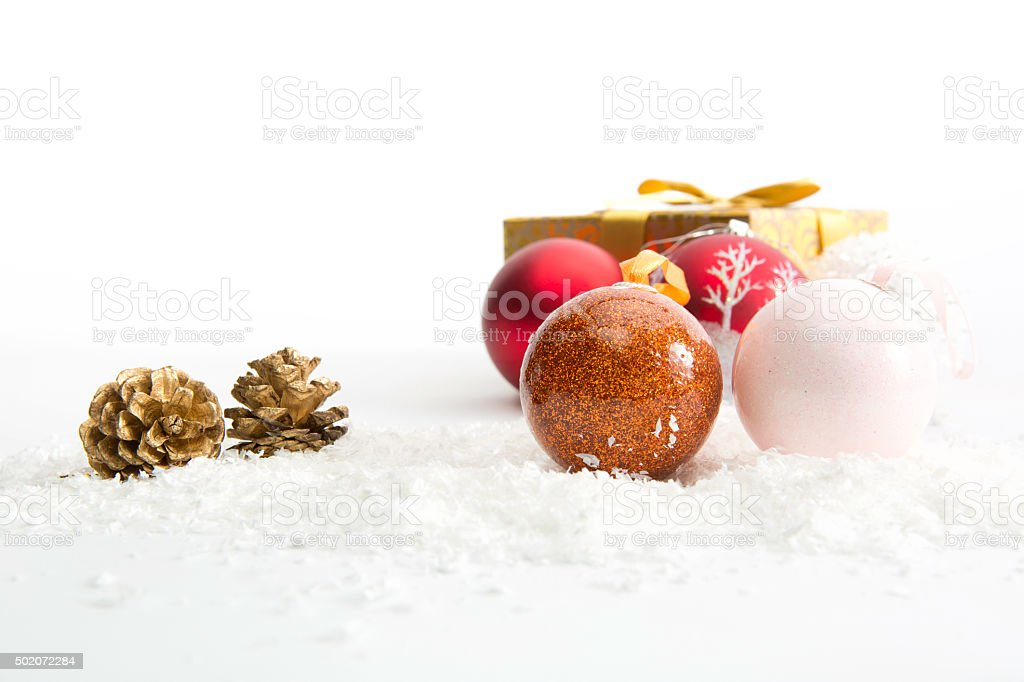 Christmas balls on white background stock photo