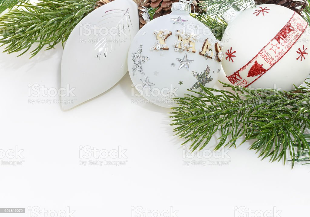 Christmas balls on white background with space for text. stock photo