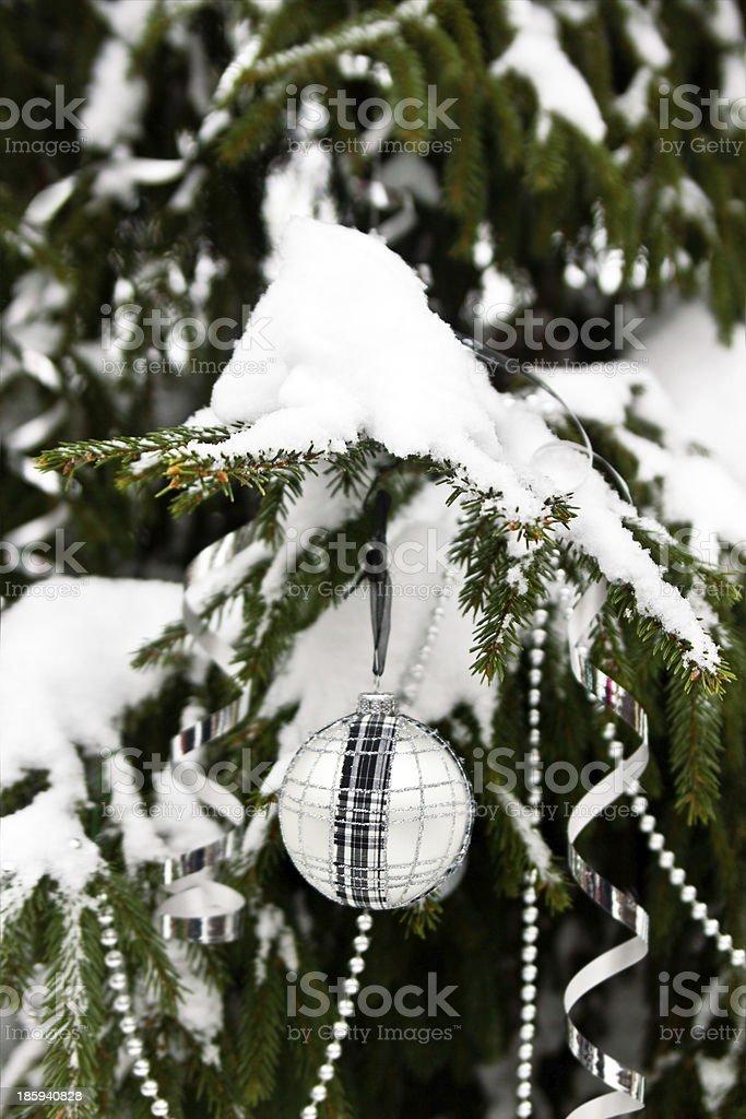 Christmas balls outdoors royalty-free stock photo
