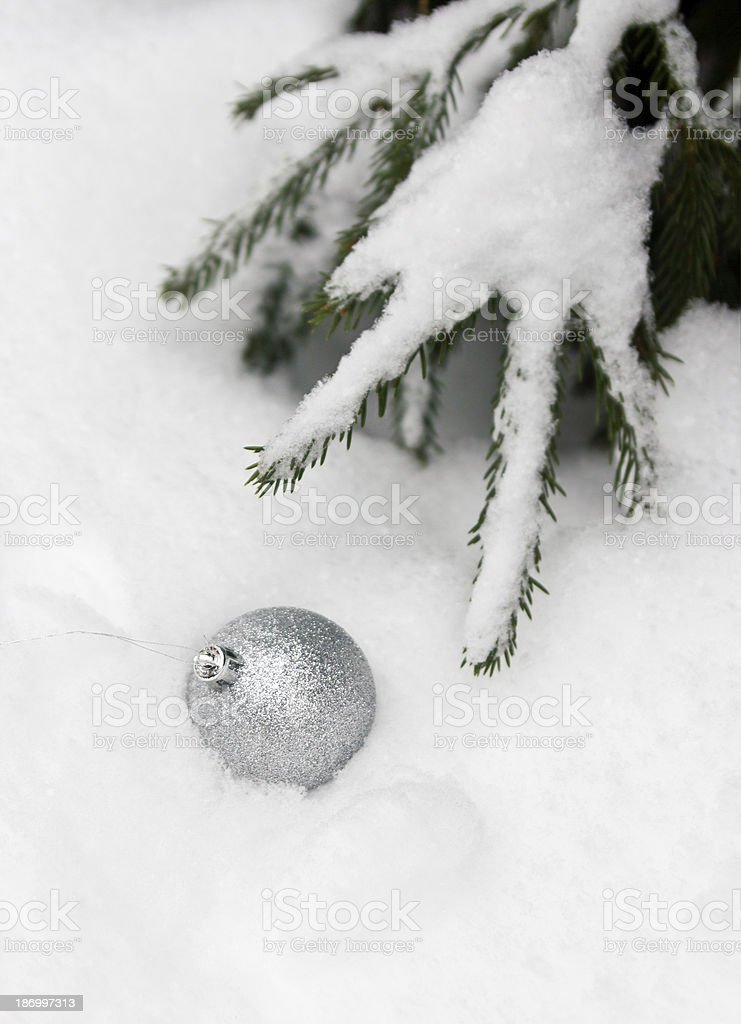 Christmas balls outdoors royalty-free stock photo