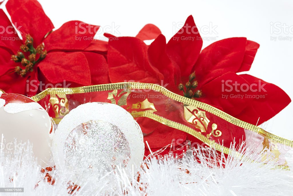 Christmas Balls & Poinsettia royalty-free stock photo