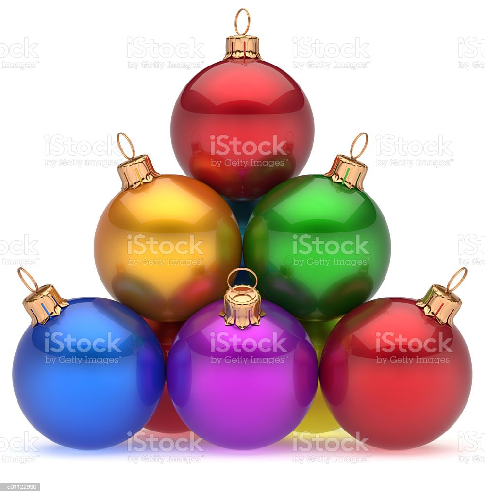 Pyramid christmas ornament - Christmas Balls Pyramid Multicolored Red Leader On Top Hierarchy Royalty Free Stock Photo
