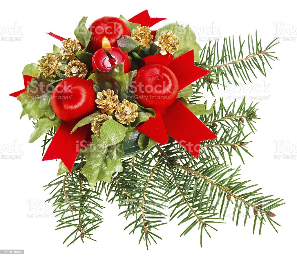 Christmas balls, red ribbons and candle on pine branch royalty-free stock photo