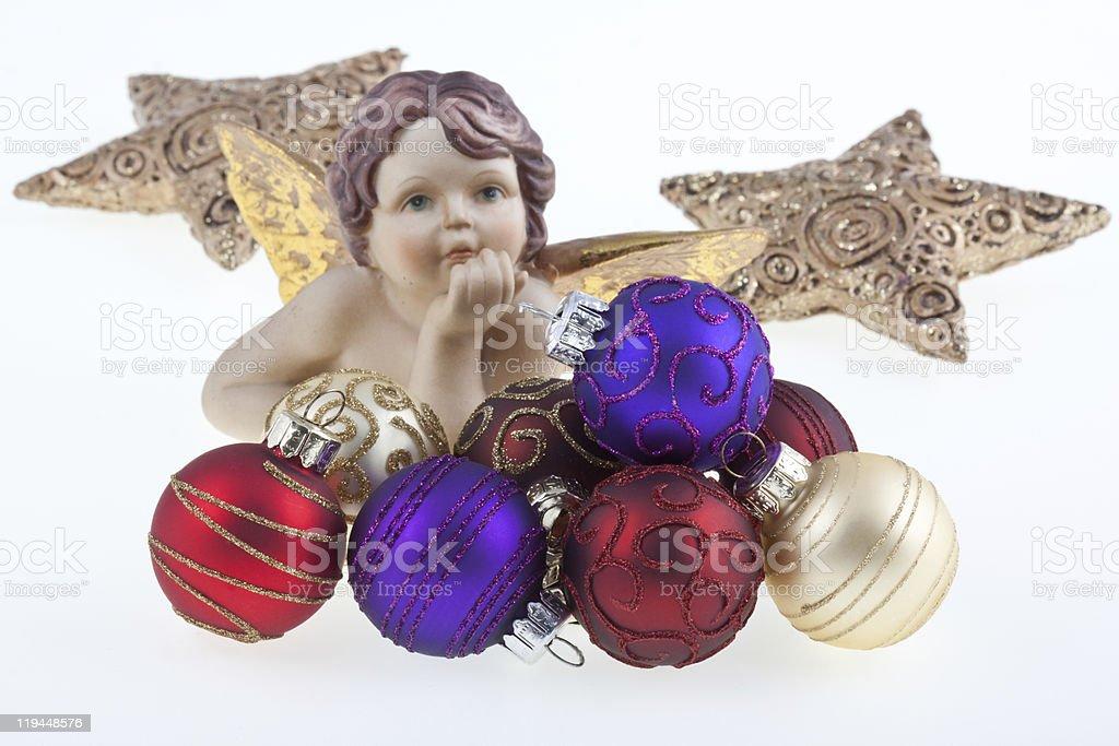 Bolas de Natal e estrelas e angel. foto de stock royalty-free