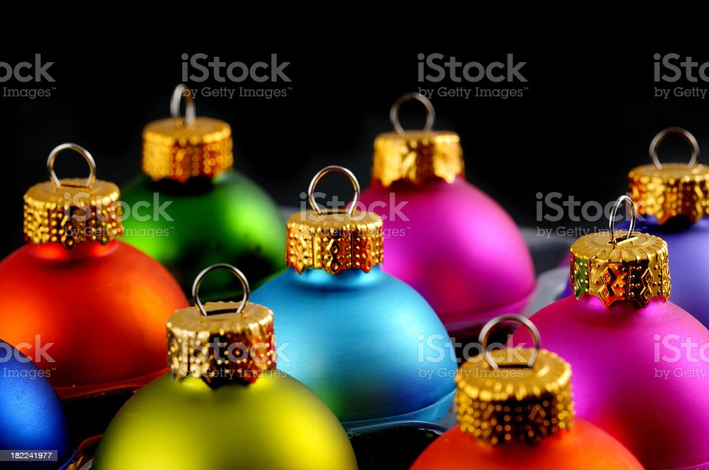 christmas balls with black background stock photo