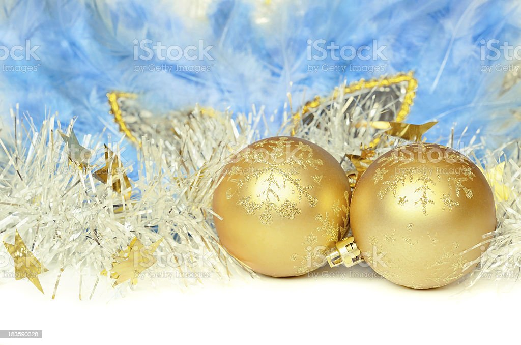 Christmas balls with tinsel and mask royalty-free stock photo