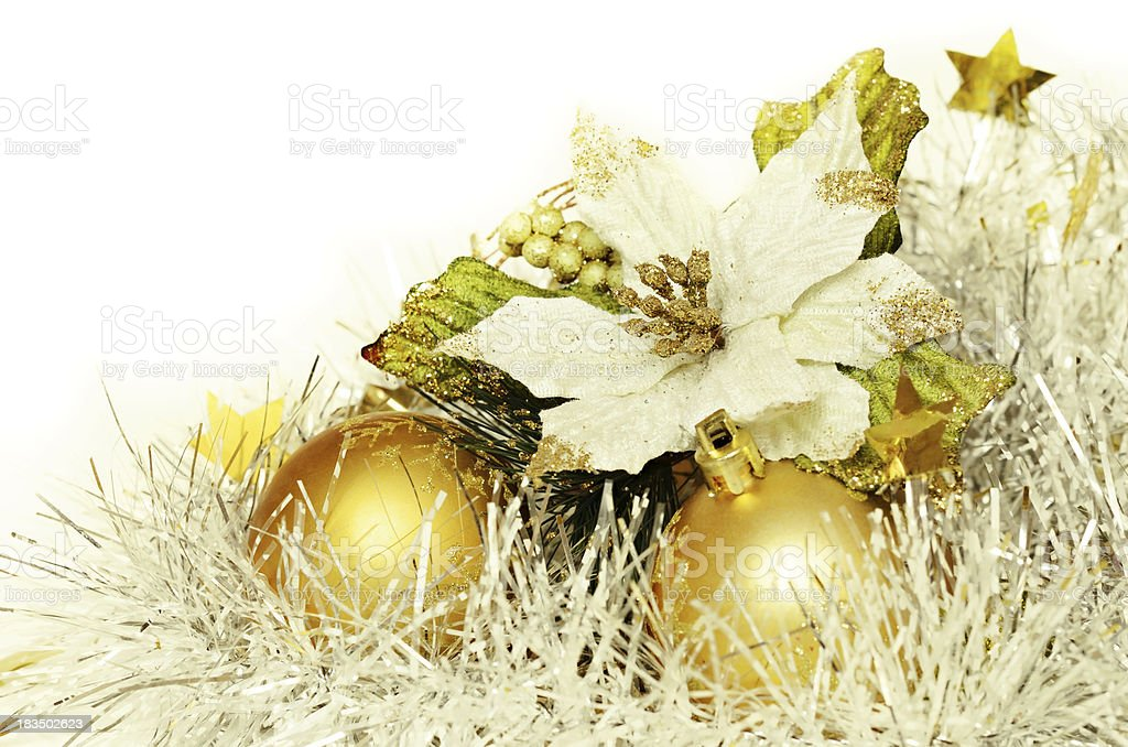 Christmas balls with tinsel and poinsettia royalty-free stock photo