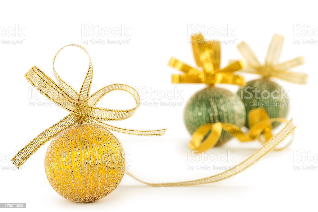 Christmas baubels with ribbon isolated on white stock photo