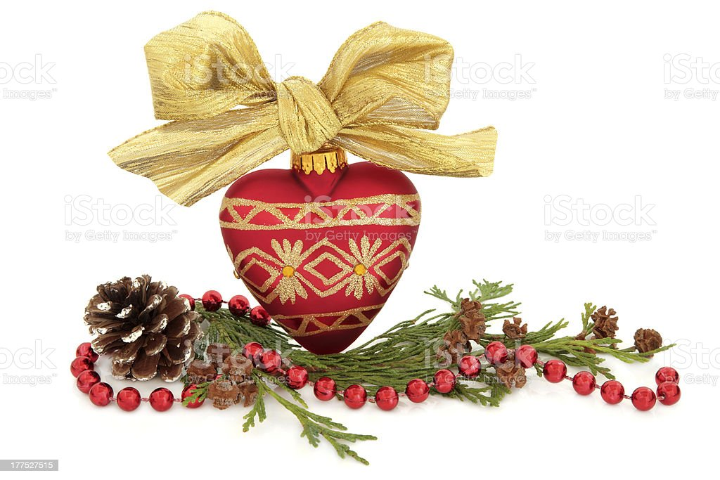 Christmas Bauble and Flora royalty-free stock photo