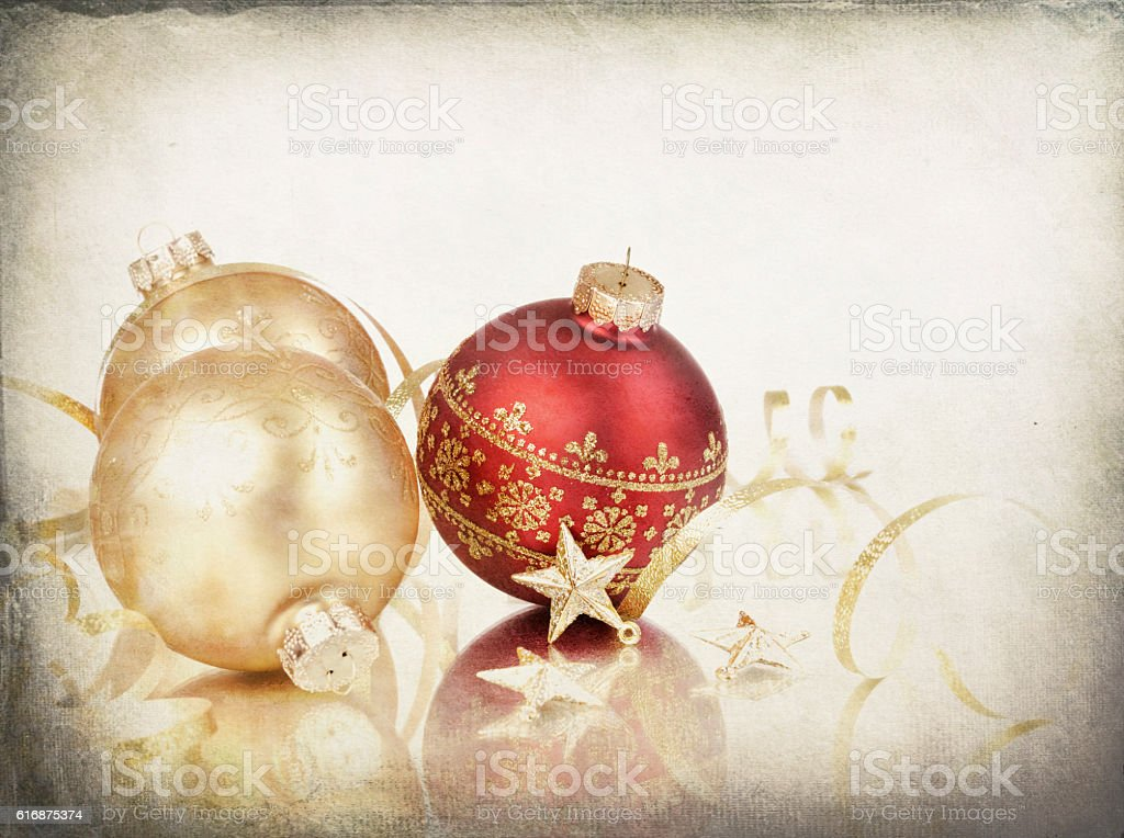 Christmas Bauble Ball Arrangement on Gold Starry Grunge Background stock photo