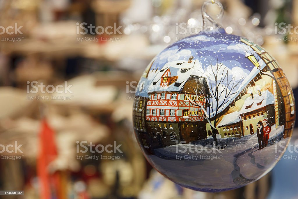 Christmas bauble depicting snowy German street stock photo