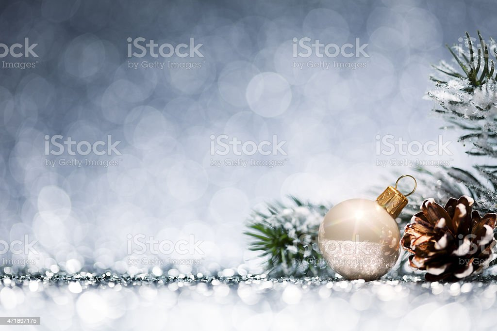Christmas Bauble - Frozen Branch Decoration Glitter Bokeh Winter Gold stock photo