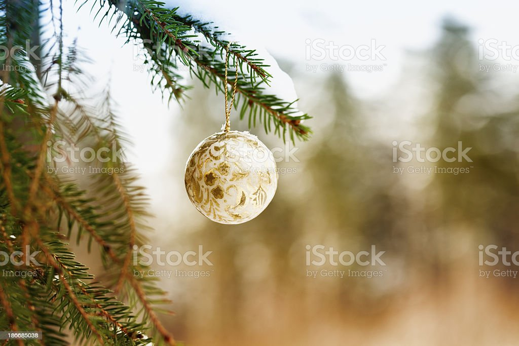 christmas bauble hanging at tree outdoors in snow royalty-free stock photo