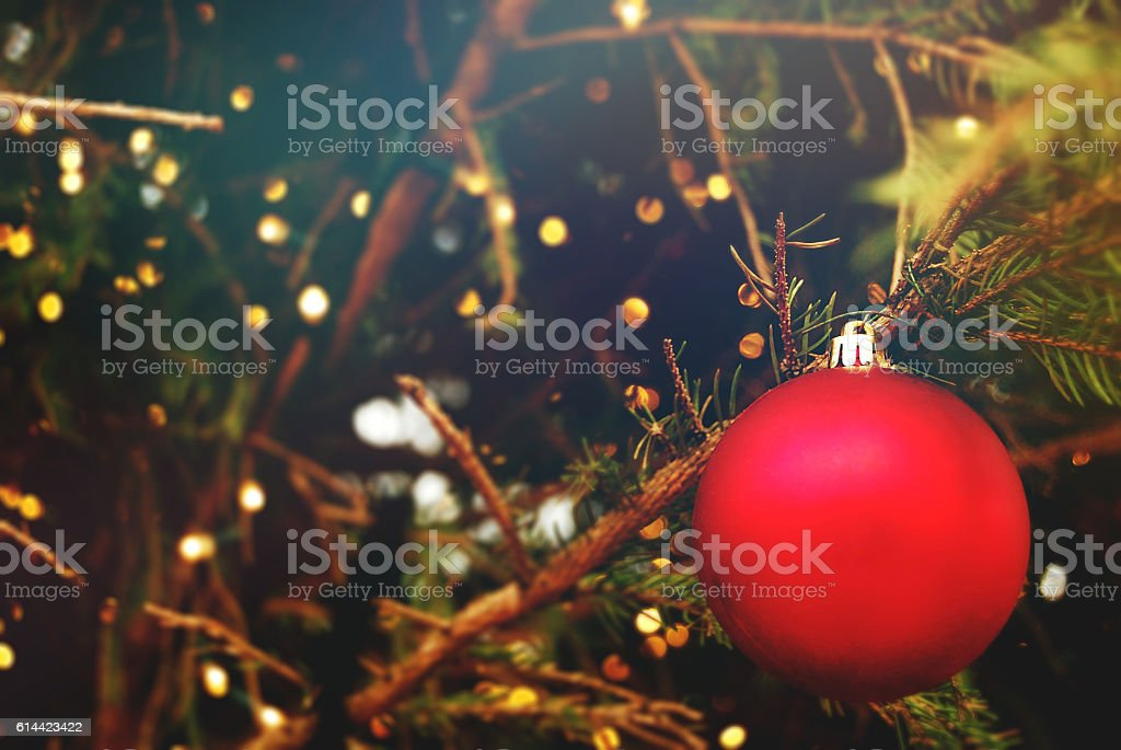 Christmas Bauble hanging on a tree stock photo