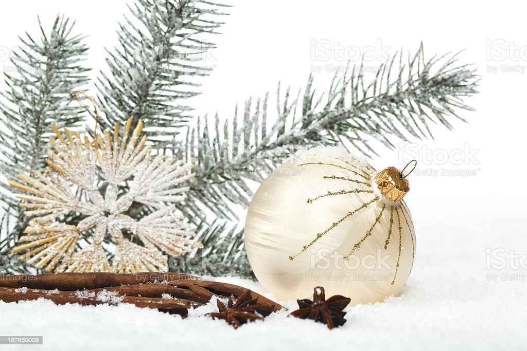 Christmas Bauble in Snow royalty-free stock photo