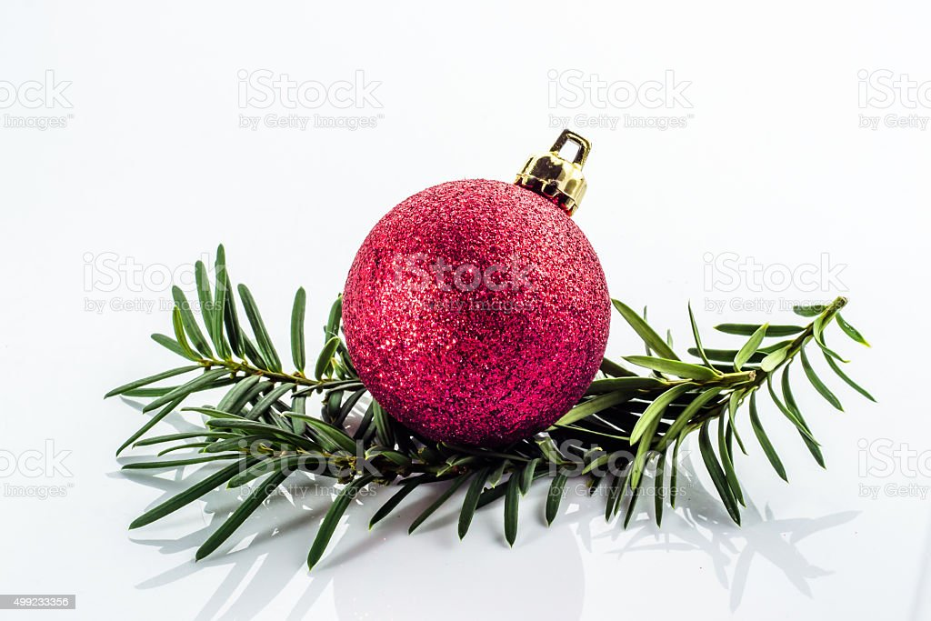 Christmas bauble on christmas tree twig isolated on white background. stock photo