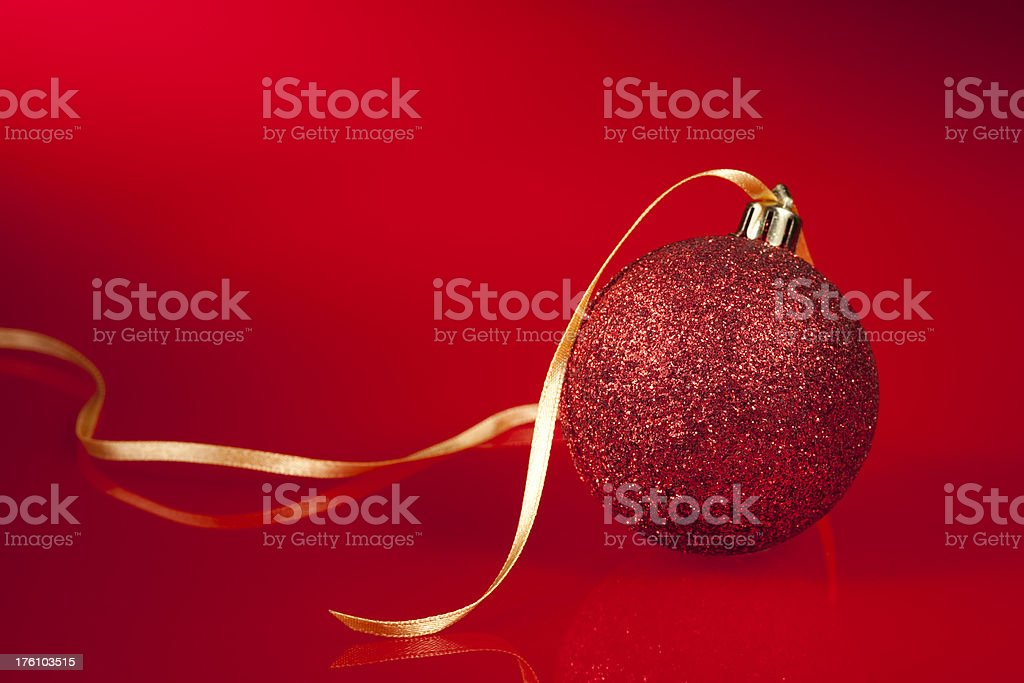 Christmas Bauble & Ribbon royalty-free stock photo