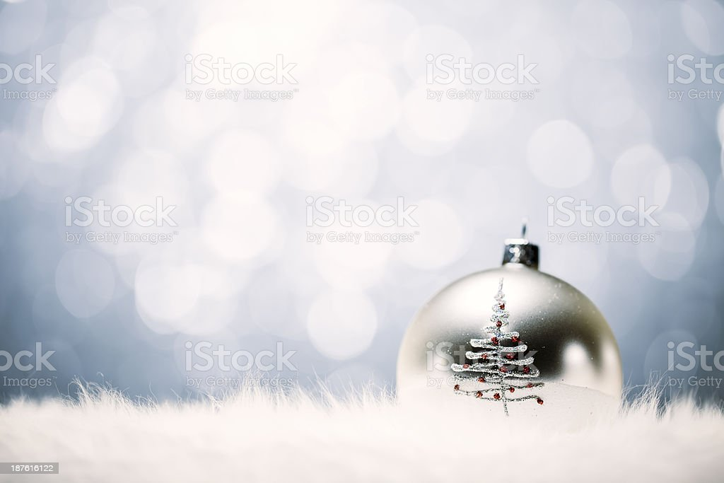 Christmas Bauble - Tree Defocused Lights Decoration Background royalty-free stock photo