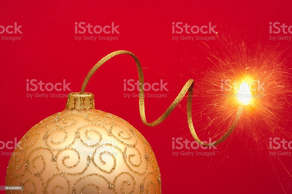 Christmas bauble with gold touch paper royalty-free stock photo