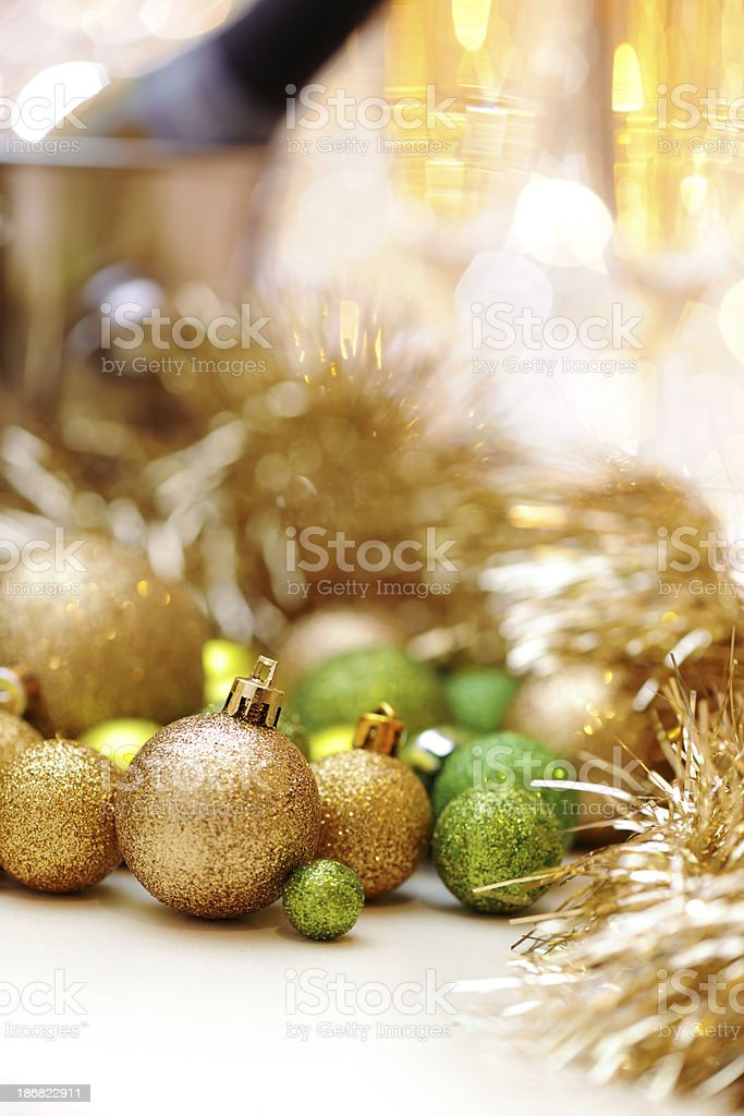 Christmas baubles and champagne royalty-free stock photo