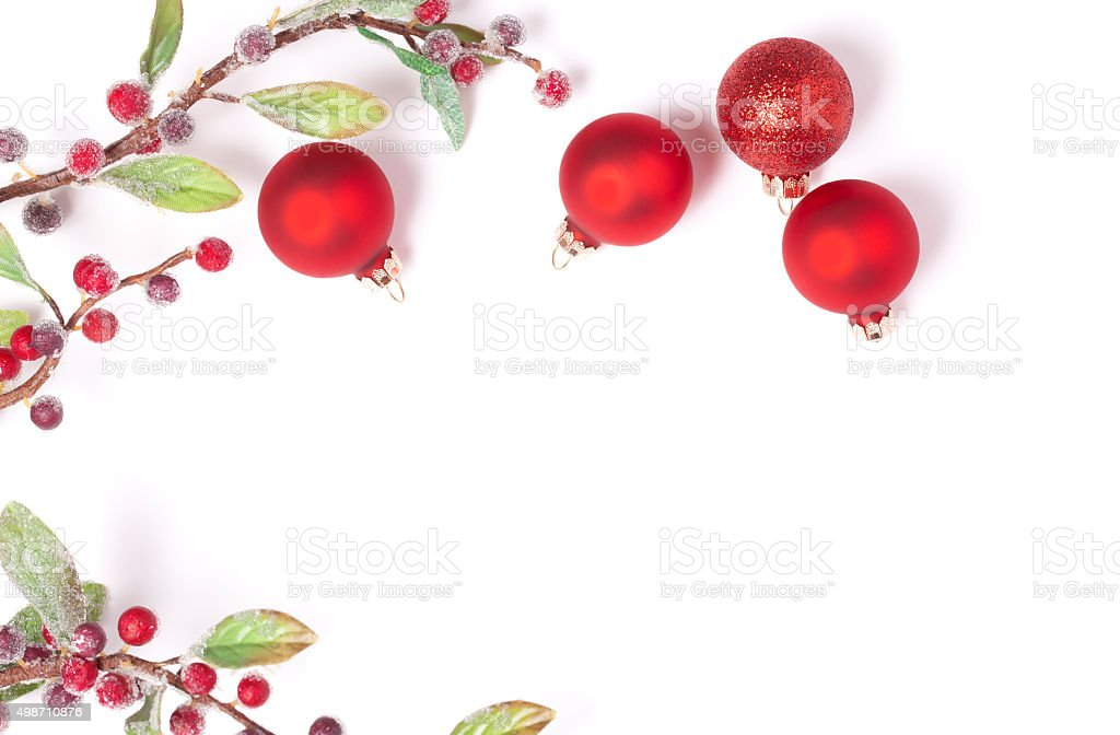Christmas Baubles and Decoration Stem Isolated on White stock photo
