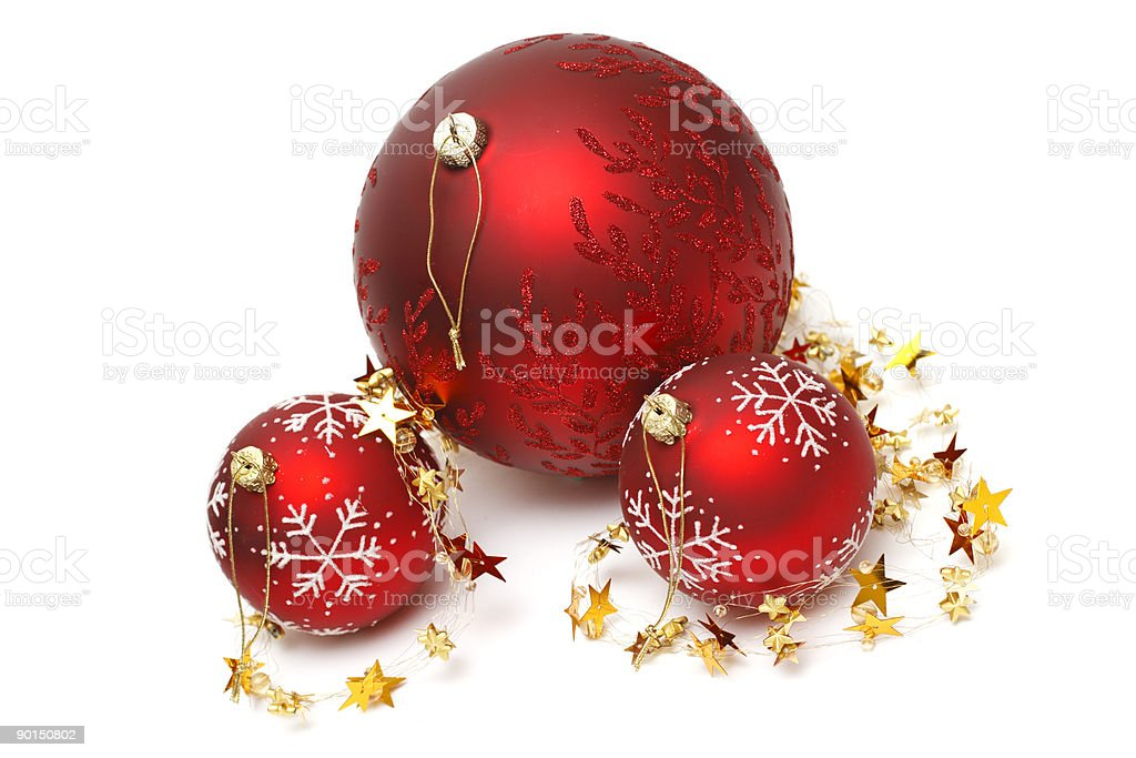 christmas baubles and golden stars royalty-free stock photo