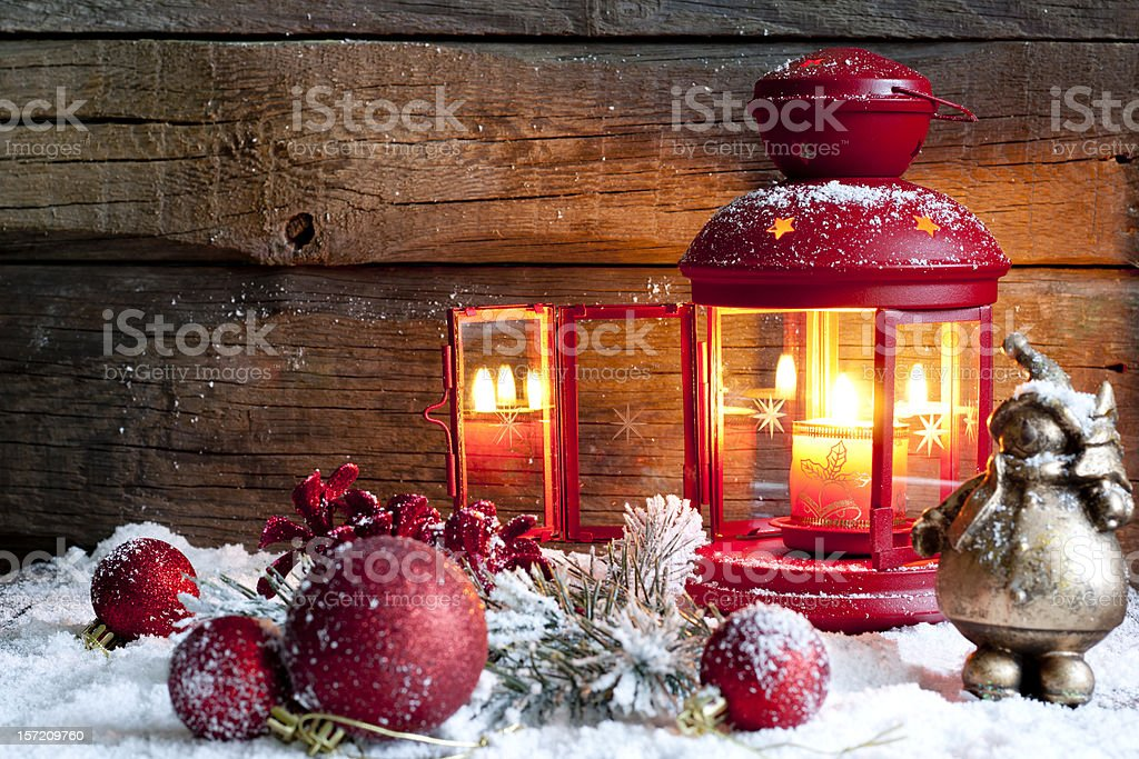 Christmas baubles and lantern in night royalty-free stock photo