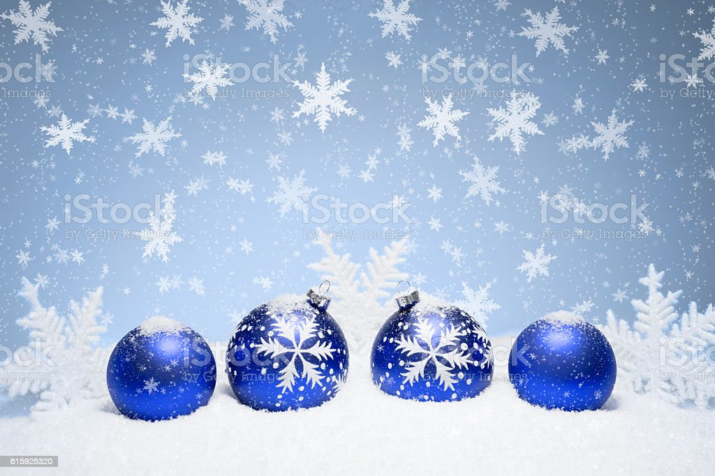 Christmas baubles and snowflakes stock photo
