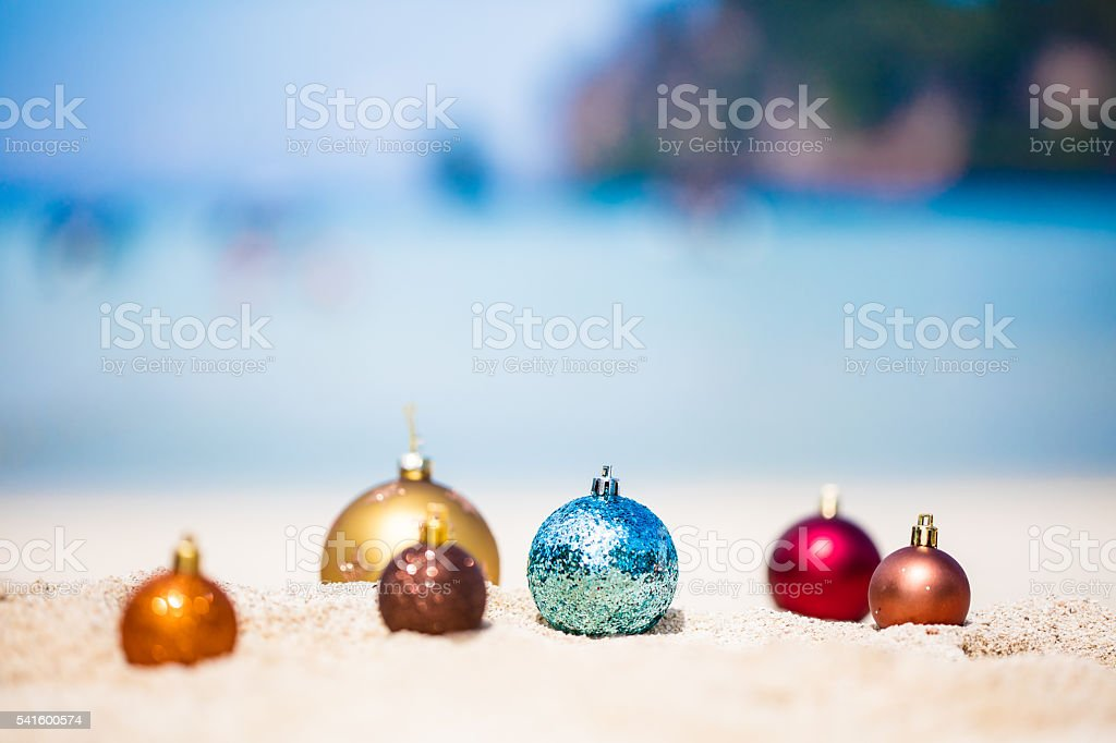 Christmas baubles at tropical beach in Ko Phi Phi, Thailand stock photo