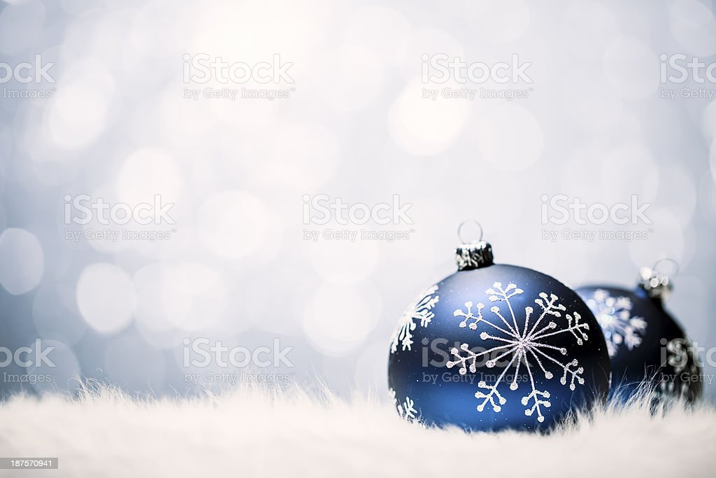 Christmas Baubles - Blue Bokeh Defocused Decoration White royalty-free stock photo