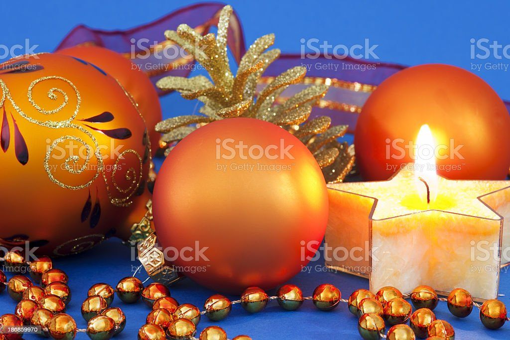 Christmas Baubles & Candle royalty-free stock photo