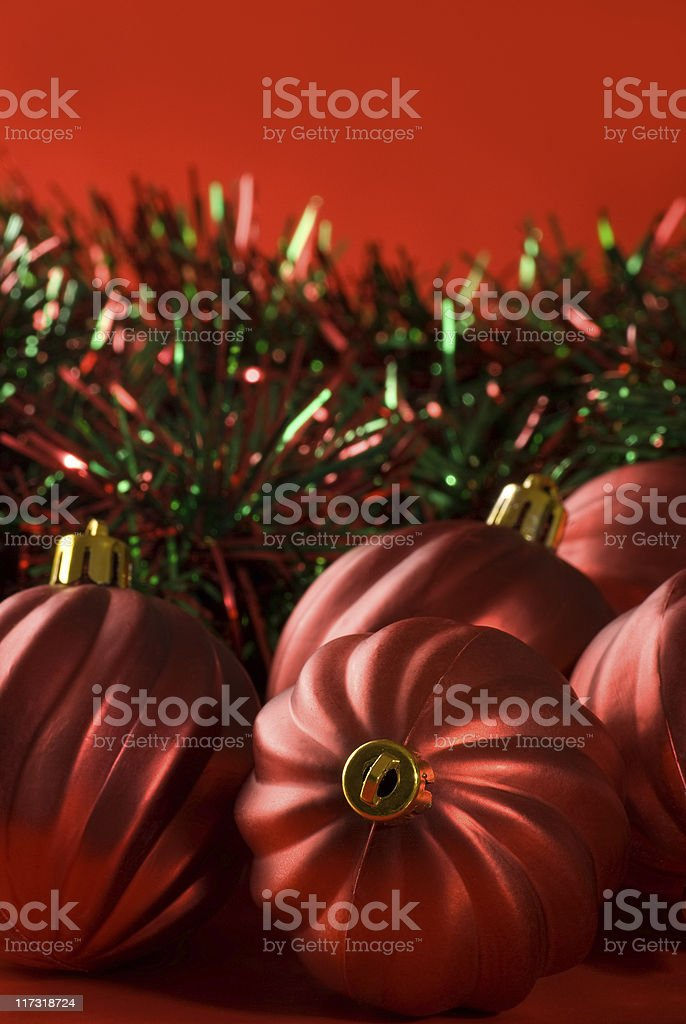 Christmas Baubles & Garland. royalty-free stock photo