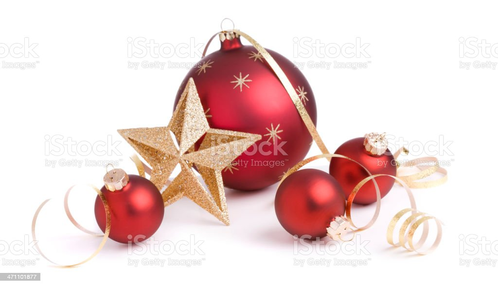 Christmas Baubles & Gold Ribbons (XXL) royalty-free stock photo