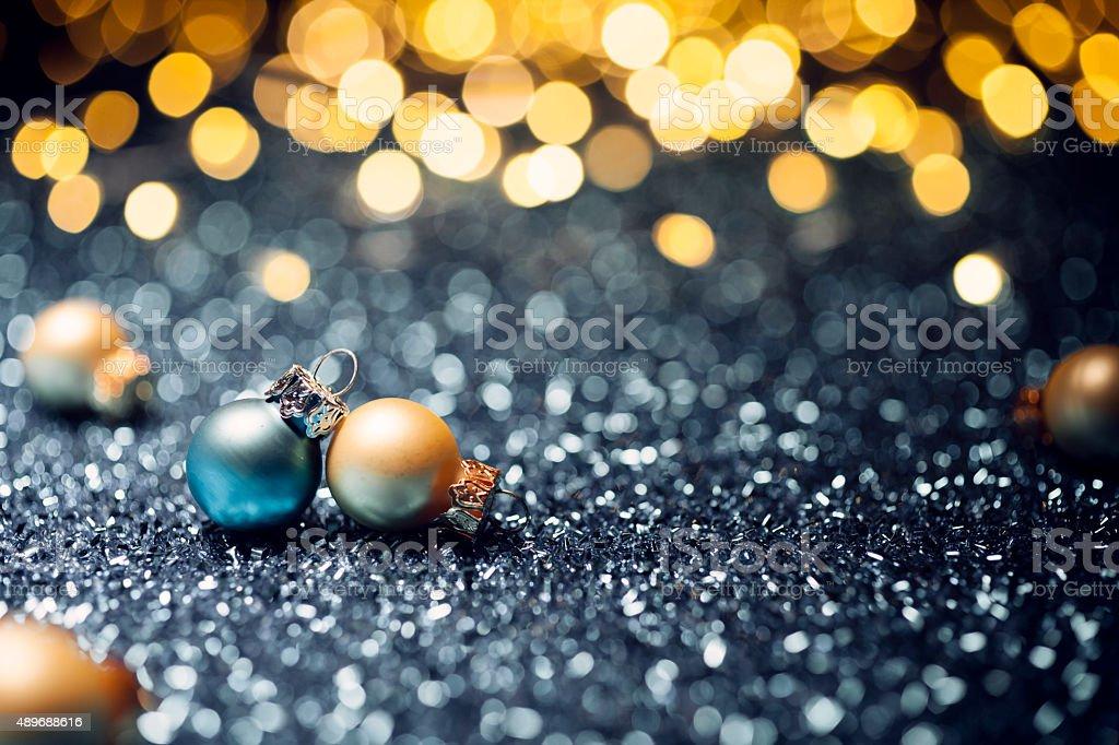 Christmas Baubles - Lights Bokeh Defocused Decoration Gold stock photo