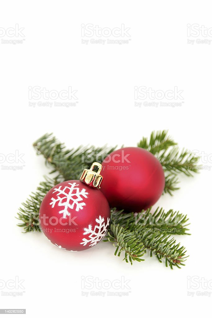 Christmas baubles on a fir branch royalty-free stock photo