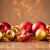 Christmas baubles on a wooden table