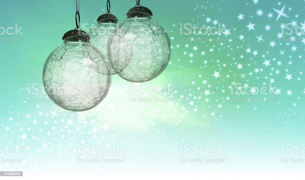 Christmas Baubles on Aqua royalty-free stock photo