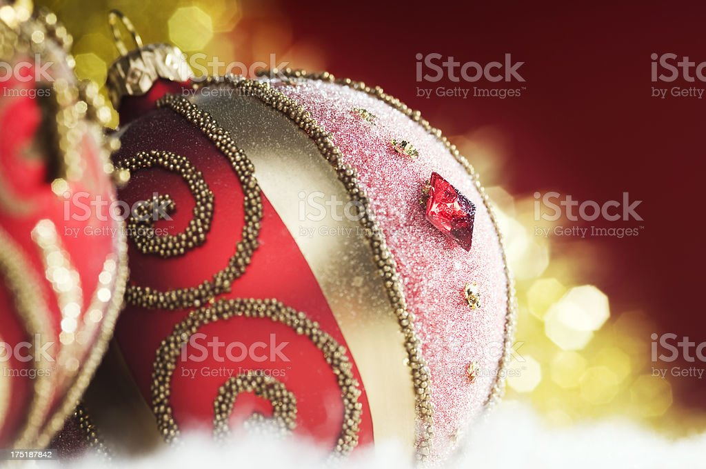Christmas baubles on defocused lights background royalty-free stock photo