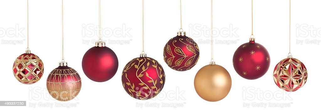 Christmas Baubles Ornaments Red and Gold Patterned Isolated on White stock photo