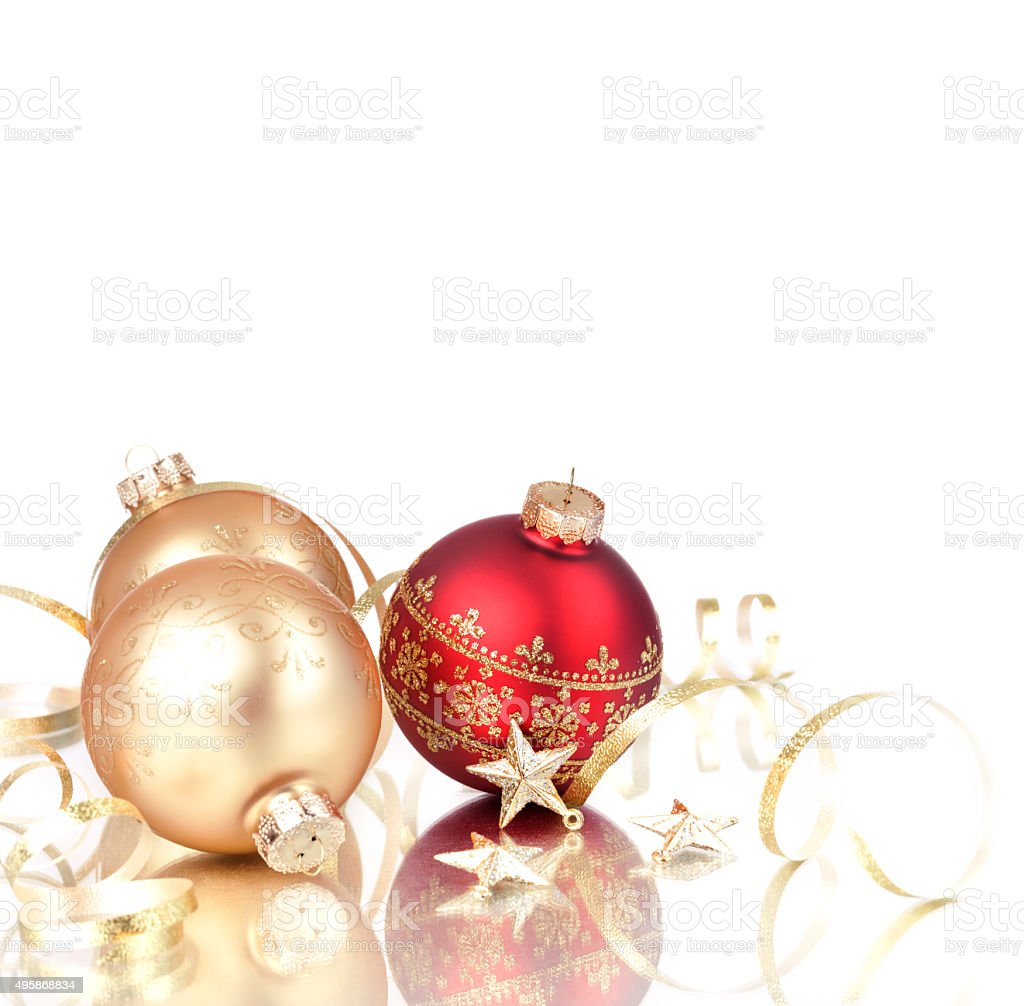 Christmas Baubles Ornaments with Ribbons and Stars Isolated on White stock photo