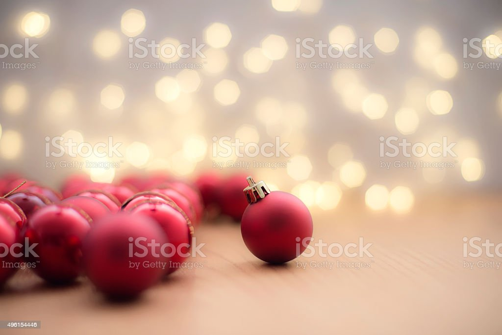 Red christmas baubles , horizontal
