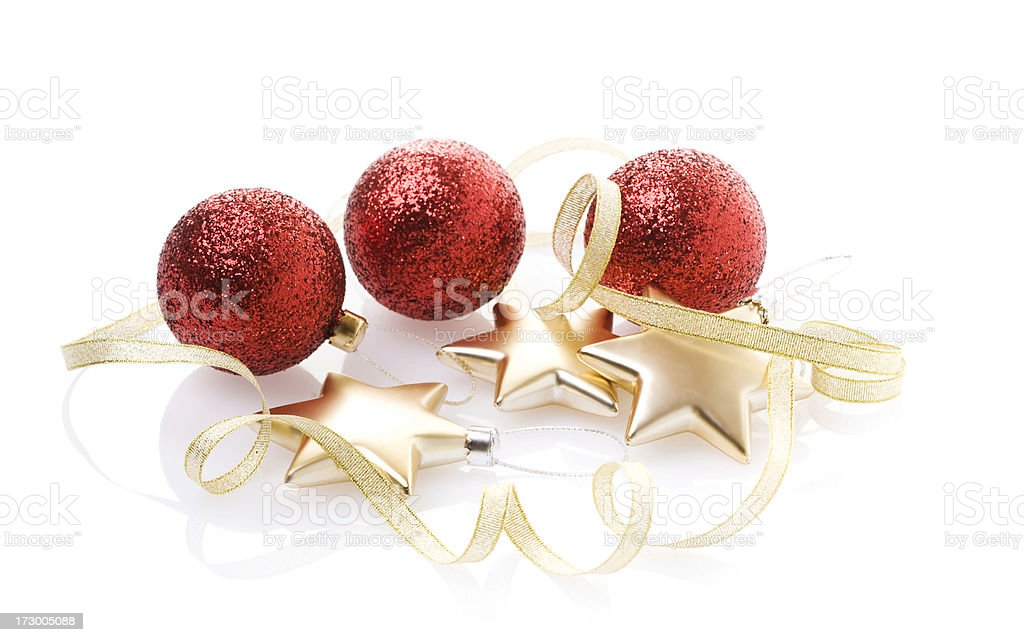 Christmas Baubles, Stars and ribbon (XL) royalty-free stock photo