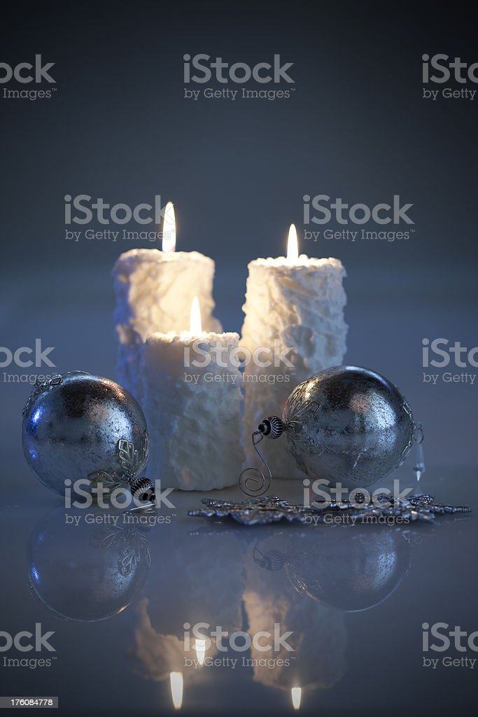 Christmas Baubles with Candles royalty-free stock photo