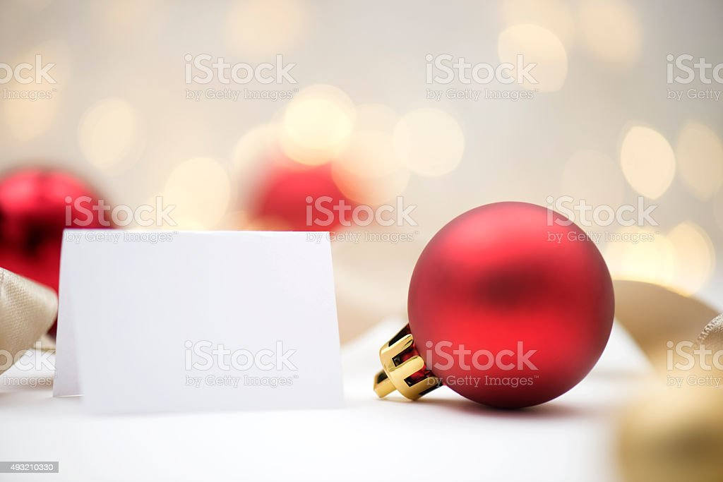 Christmas Baubles with Greeting Card stock photo