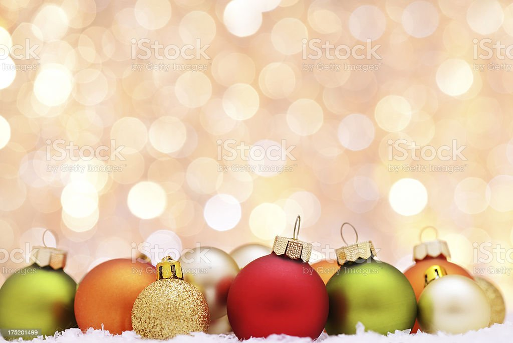 Christmas baubles with illuminated background stock photo