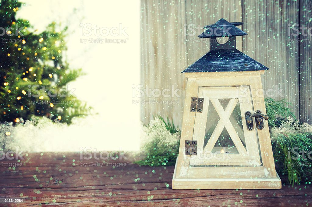 Christmas baubles with lantern snow stock photo
