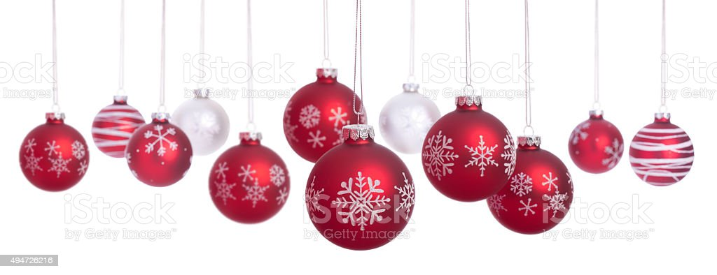 Christmas Baubles with Snowflakes in a Row Isolated on White stock photo