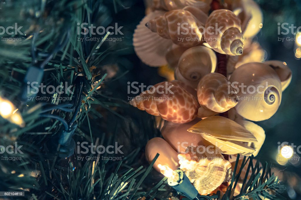 Christmas Beach Decorations stock photo